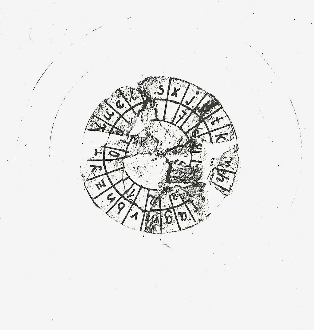 Inner circle of Josef Jakob's cipher disc.