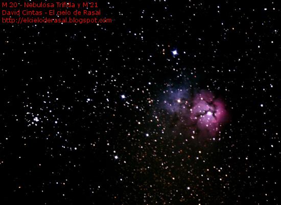 Nebulosa trifida M 20 M 21 NGC 6514 NGC 6531 Cumulo abierto - El cielo de Rasal