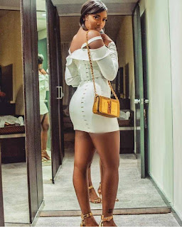 Tiwa Savage slays in short gown