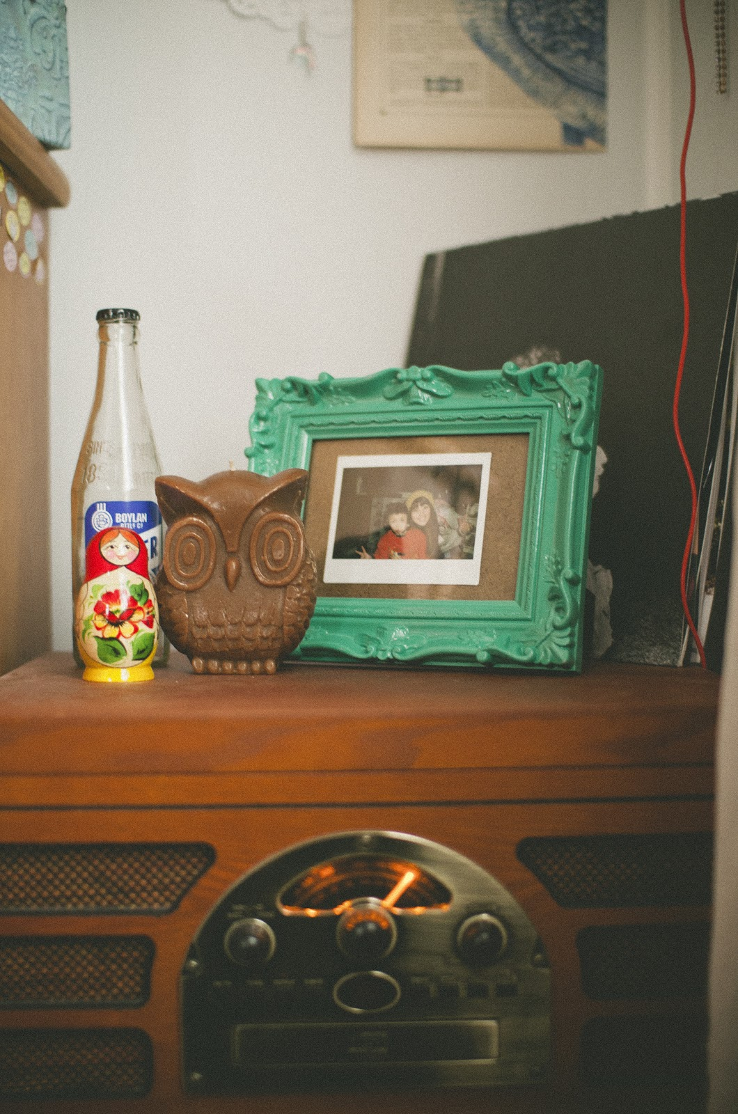 owl, candle, russian nesting doll, babushka, record player, indie, hip, decor,