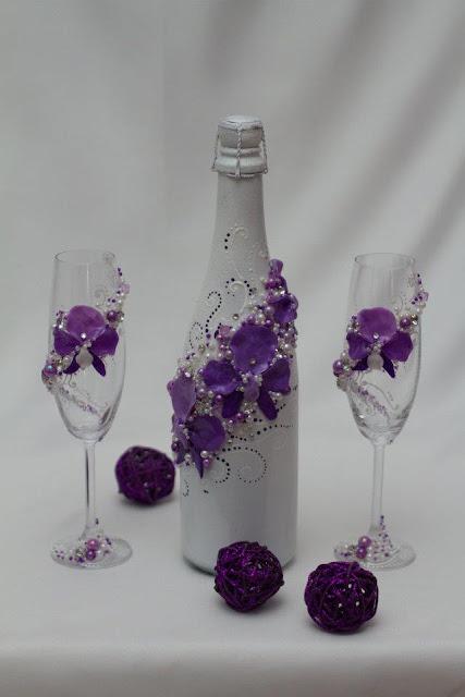 Весільні бокали і шампанське, декор, ручна робота, Тернопіль, Україна