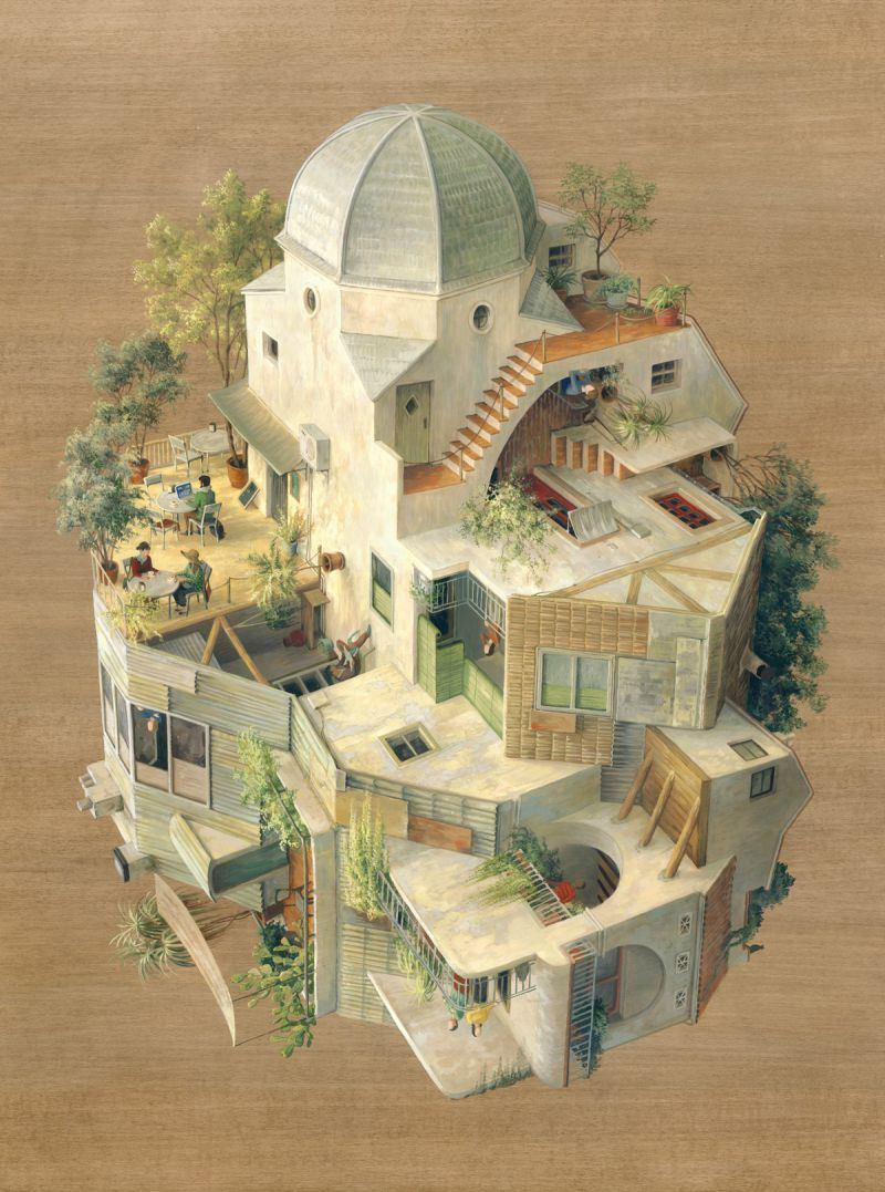 Barcelona artist and illustrator Cinta Vidal Agulló, defied gravity and architectural coherence. Acrylic paint on wooden panels she portrayed a scene with overlapping perspectives.