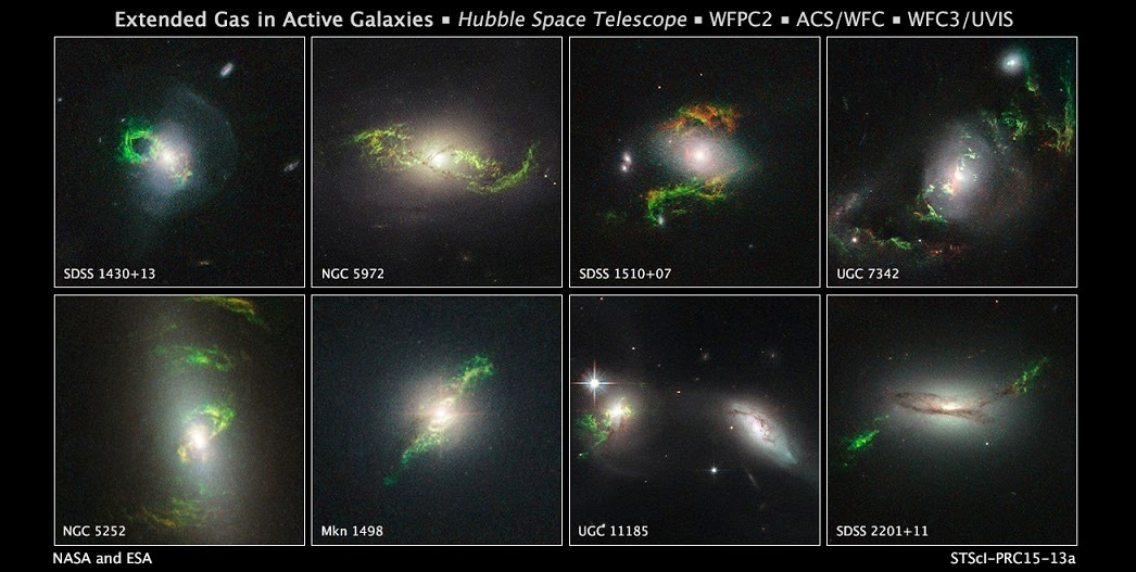These Hubble Space Telescope images reveal a set of bizarre, greenish, looping, spiral, and braided shapes around eight active galaxies. These huge knots of dust and gas appear greenish because they are glowing predominately in light from photoionized oxygen atoms.Each galaxy hosts a bright quasar that may have illuminated the structures. The ethereal wisps outside the host galaxies were blasted, perhaps briefly, by powerful ultraviolet radiation from a supermassive black hole at the core of each galaxy. Material falling into the black hole was heated to a point where a brilliant searchlight beam traveled into deep space. Because the quasars are not bright enough now to account for the present glow of the blobs, they may be a record of something that happened in the past inside the host galaxies. The black holes may have been fueled through collisions between two galaxies, and the filaments may be forensic evidence for material tattered in the collision. Credit: NASA, ESA, and W. Keel (University of Alabama, Tuscaloosa)