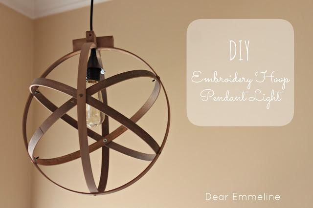 DIY Embroidery hoop chandelier