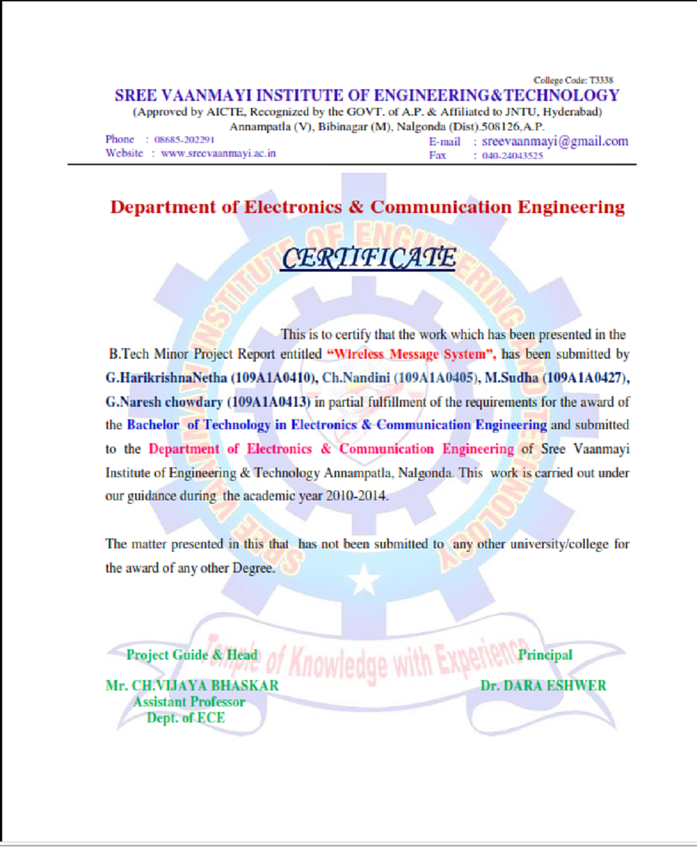 college certificate engineering sree netha harikrishna