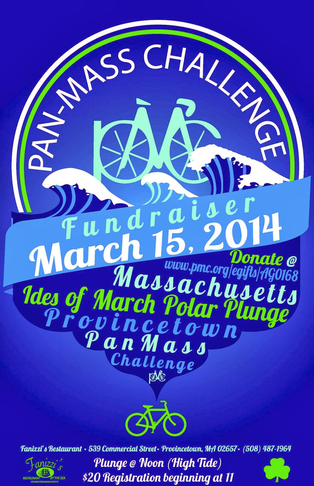 .@Fanizzis Restaurant #Provincetown @PanMassChalleng Fundraiser March 15, 2014 and Ides of March Polar Plunge