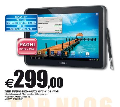 Migliore prezzo in offerta da Auchan il Galaxy Note 10.1 3G a 299 euro