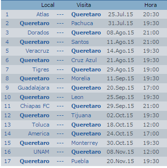 Calendario Gallos Queretaro Apertura 2015 Futbol Mexicano