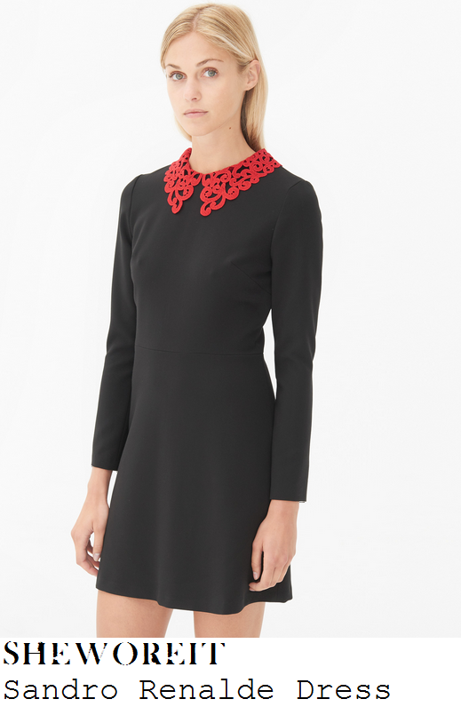 holly-willoughby-black-red-lace-collar-long-sleeve-skater-dress-this-morning