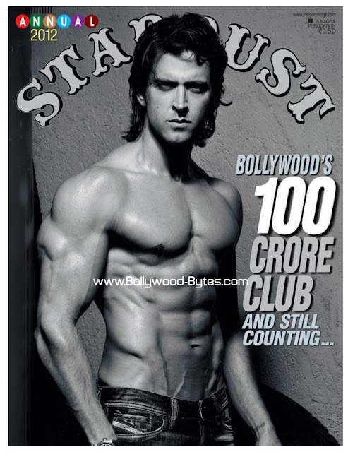 Muscular Shirtless Hrithik Roshan on the cover of Stardust annual 2012
