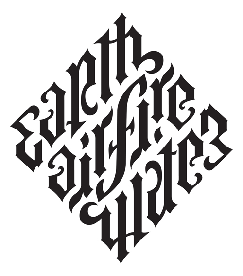 Earth Air Fire Water Ambigram