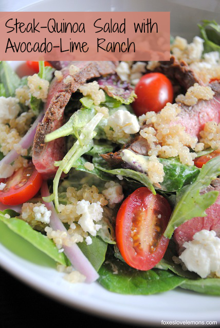 Steak-Quinoa Salad with Avocado-Lime Ranch Dressing