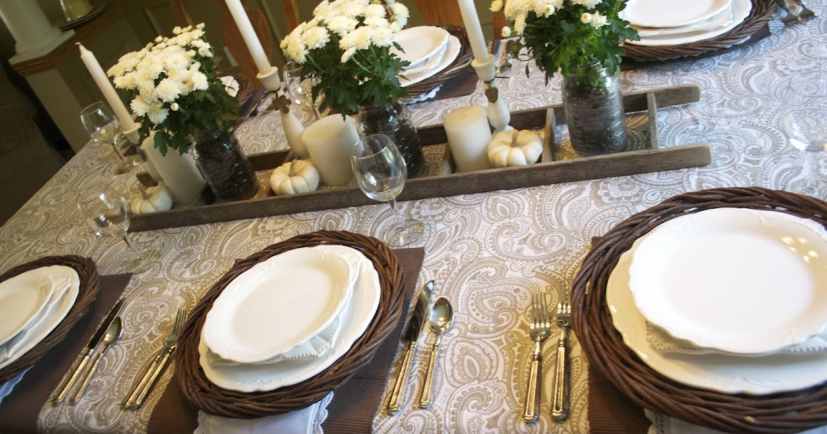 Corner Of Plaid And Paisley Brown And White Tablescape A