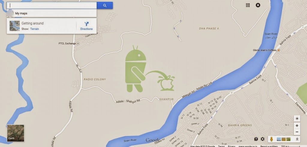 Android pissing apple on google maps