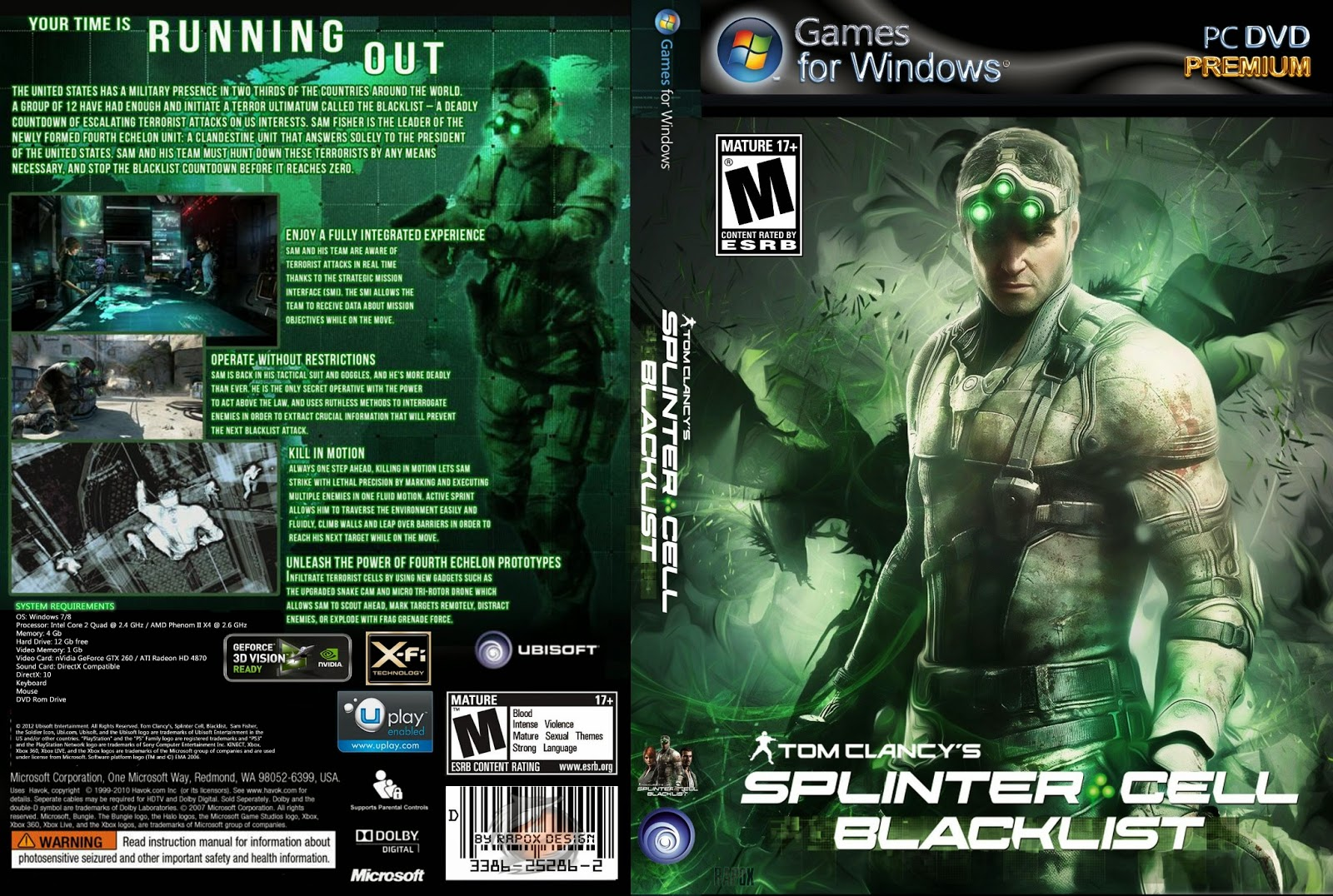 Jogo Splinter Cell Blacklist PC Capa