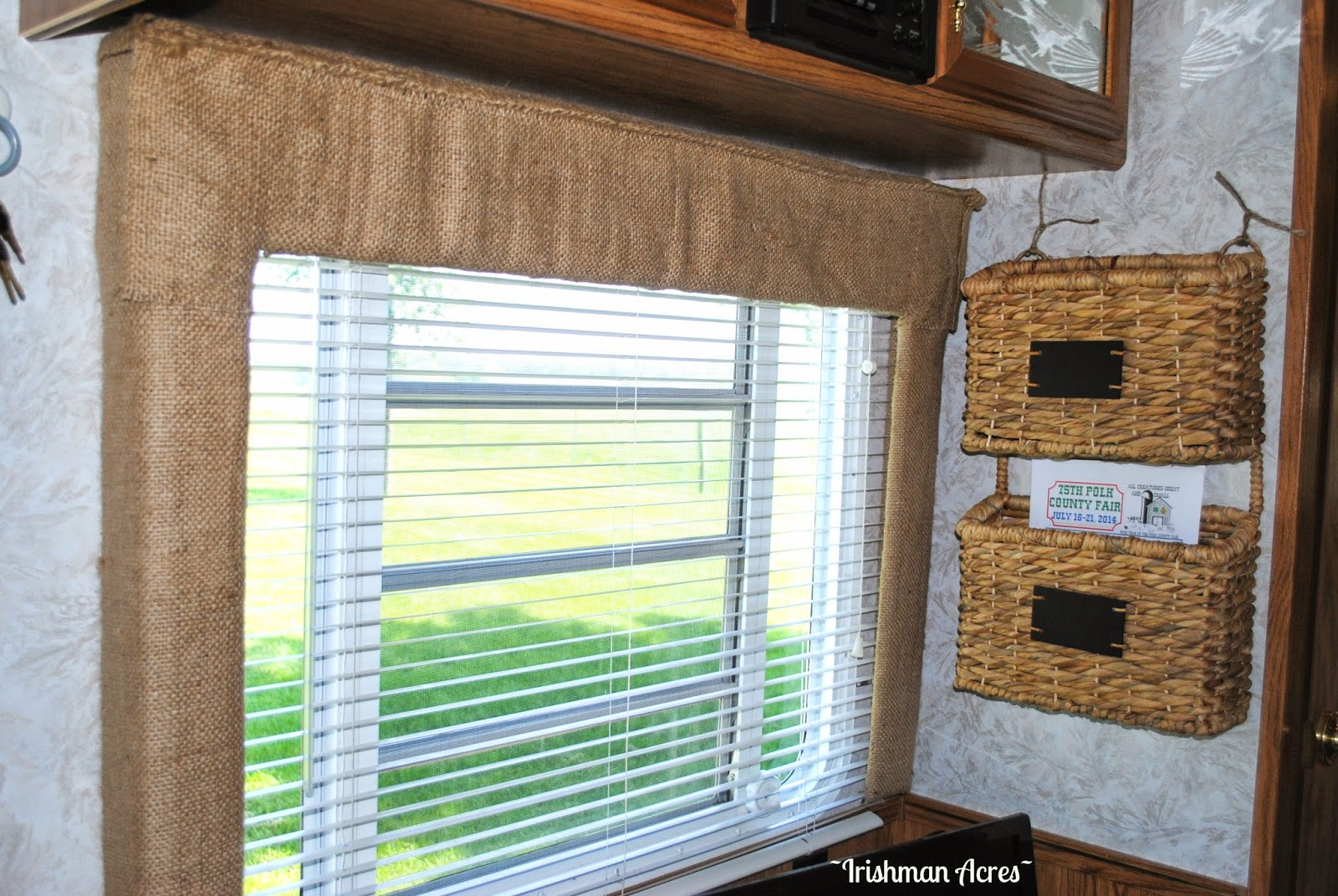 Camper window treatments - Now The Window Above The Dining Table Was The Biggest Challenge I Know I Know Not A Big Deal In Hind Site But I Had This Vision Of A Deer Rack