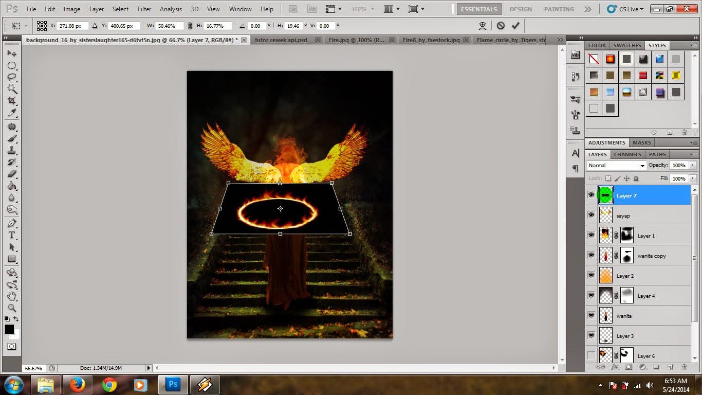Modern Art: Cara membuat wanita berkobaran api di Photoshop