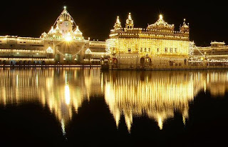 Golden temple in night time