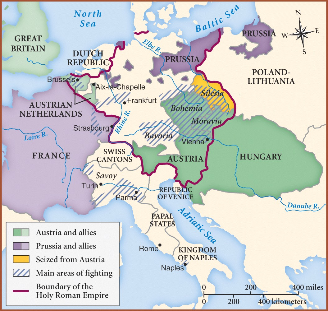the war of the austrian succession map