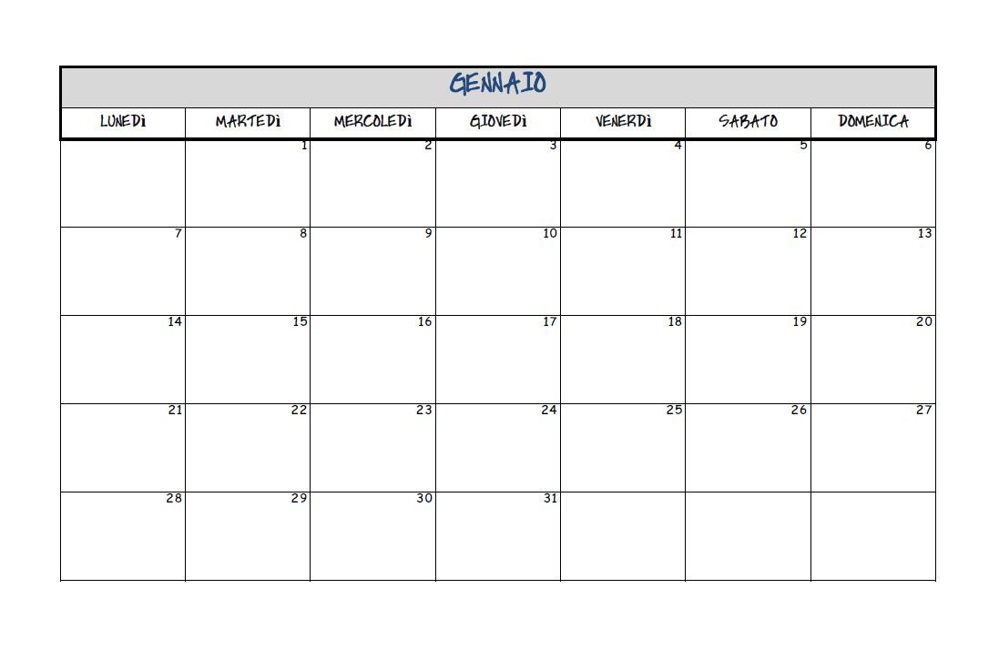spesso Calendari Gratis Da Stampare LU27 » Regardsdefemmes EO94