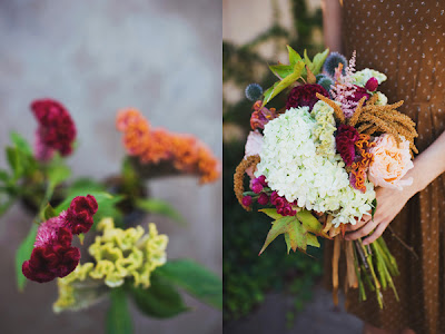 Coxcomb Fall Wedding Bouquets via Ruffled