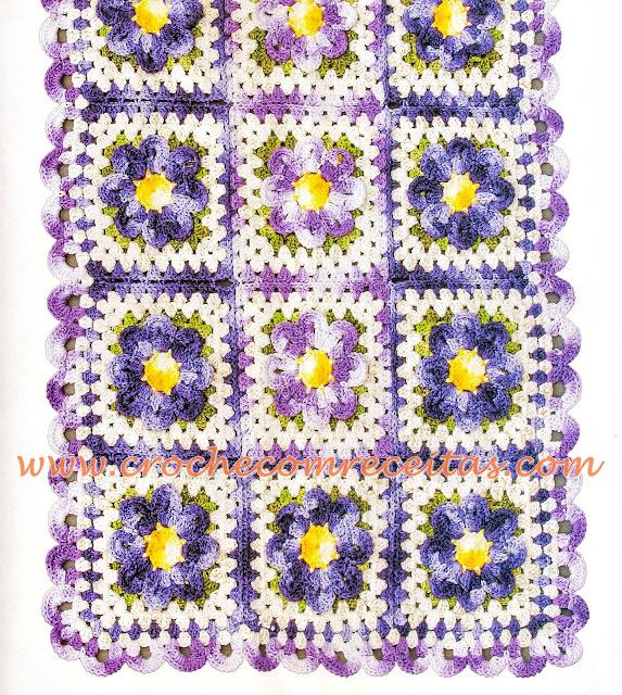 caminho de mesa em croche com square floreal croche com receitas e gráficos