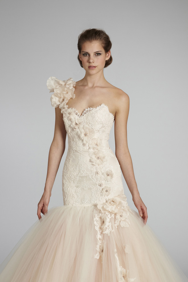Lazaro bridal fall 2012 my dress of the week belle the for Blush pink lace wedding dress