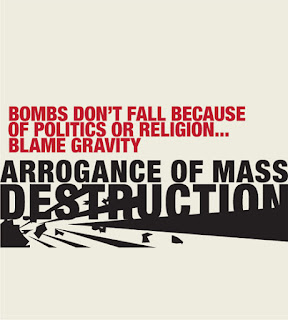 Bombs falling? blame gravity - arrogance of mass destruction
