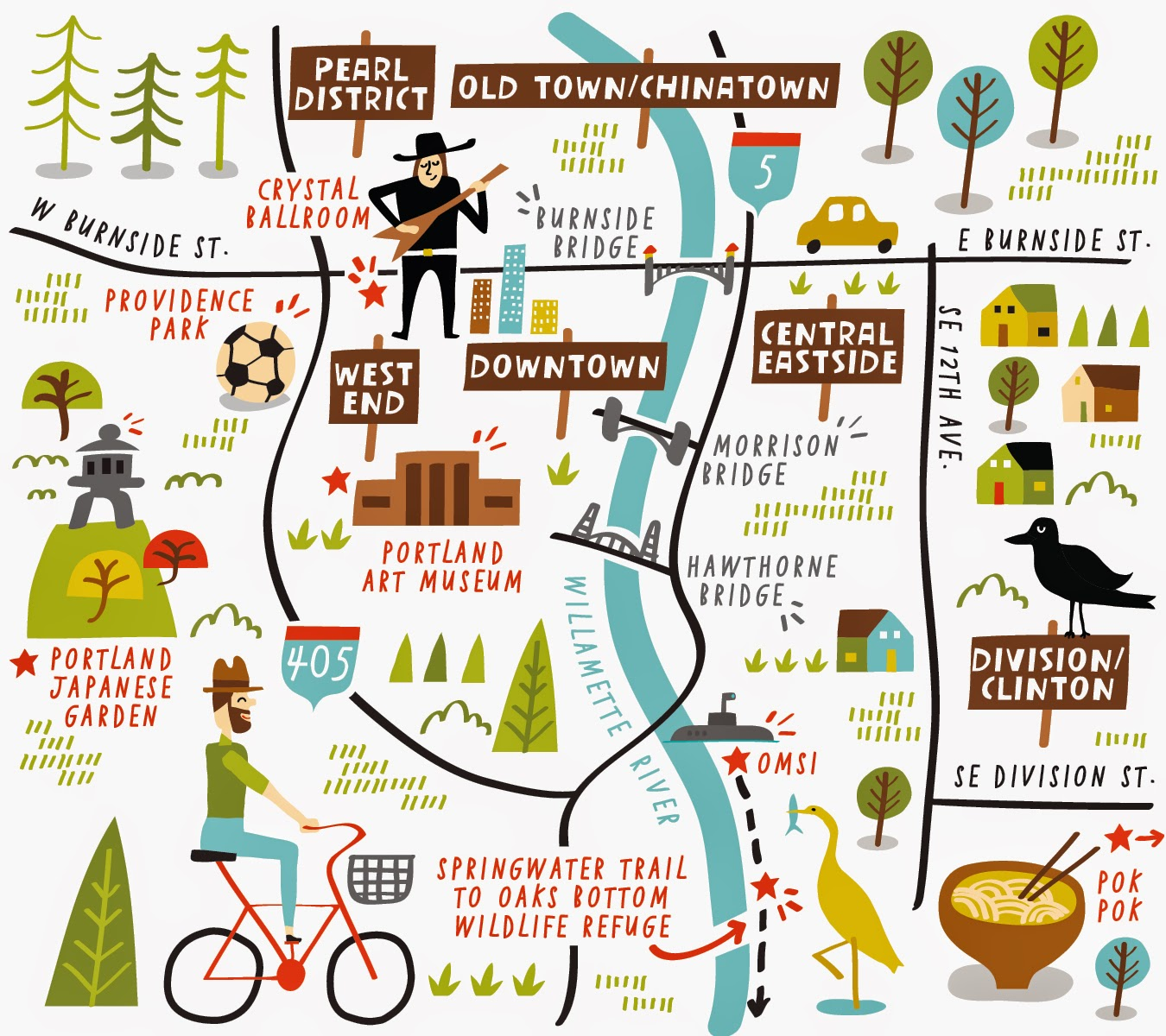 I Draw Maps Illustrated Map of Portland for AAA Journey Magazine