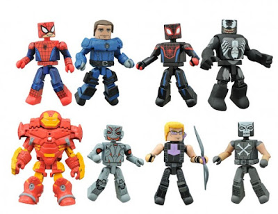 Walgreen's Exclusive Marvel Animated Universe Minimates Series 1.5 - Ultimate Spider-Man with Agent Phil Coulson, Hulkbuster Iron Man with Ultron, Ultimate Spider-Man Miles Morales with Harry Osborne Venom & Hawkeye with Crossbones