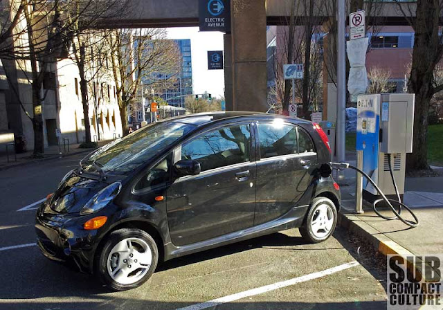 2012 Mitsubishi i charging at Electric Avenue - Subcompact Culture