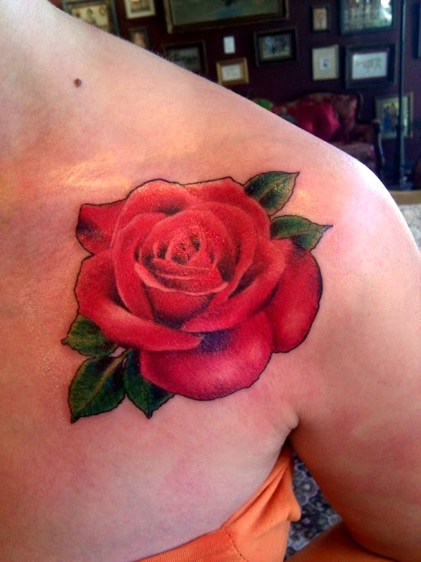 Red rose flower tattoo for Red flower tattoo