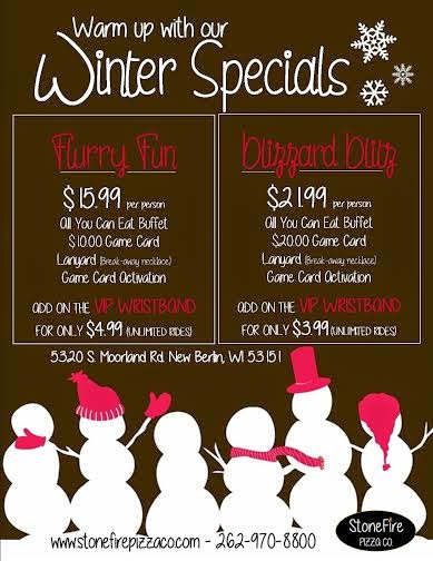 Stonefire Pizza Winter Specials