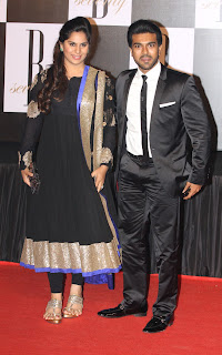 Ram Charan and his wife in Amitab birthday party