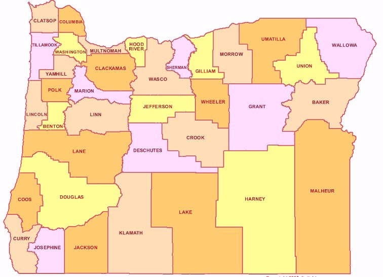 Oregon Counties Map Cities State Map Map Of USA States - Oregon county maps