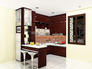 meja bar, kitchen set, kitchen model u, finishing hpl