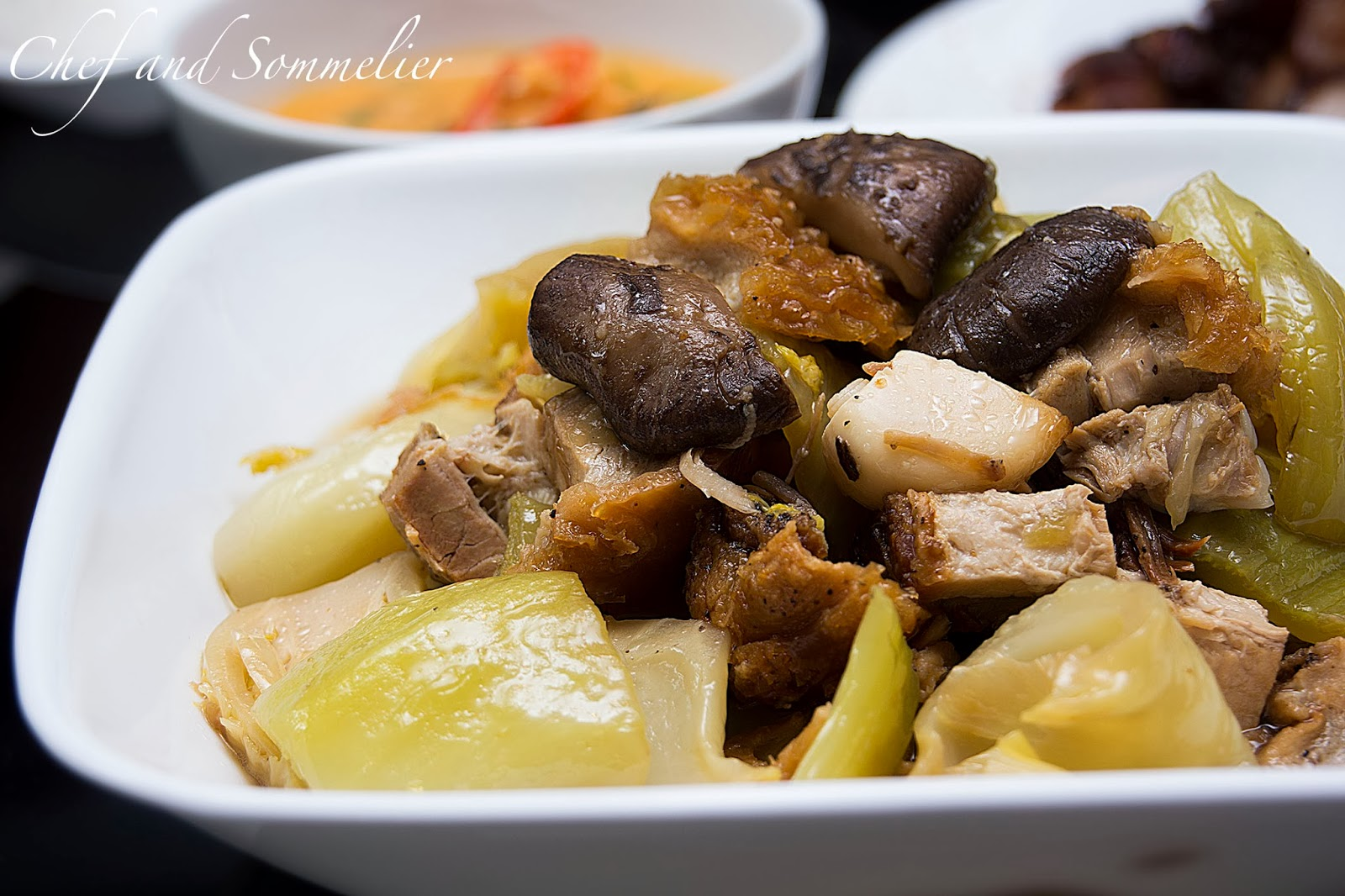 Braised Chinese Mustard Green With Roast Pork Mushrooms And Dried Scallops