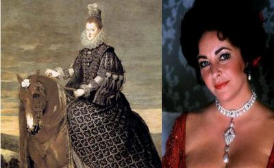 Margarita de Austria y Elizabeth Taylor. Ambas con la Peregrina al cuello