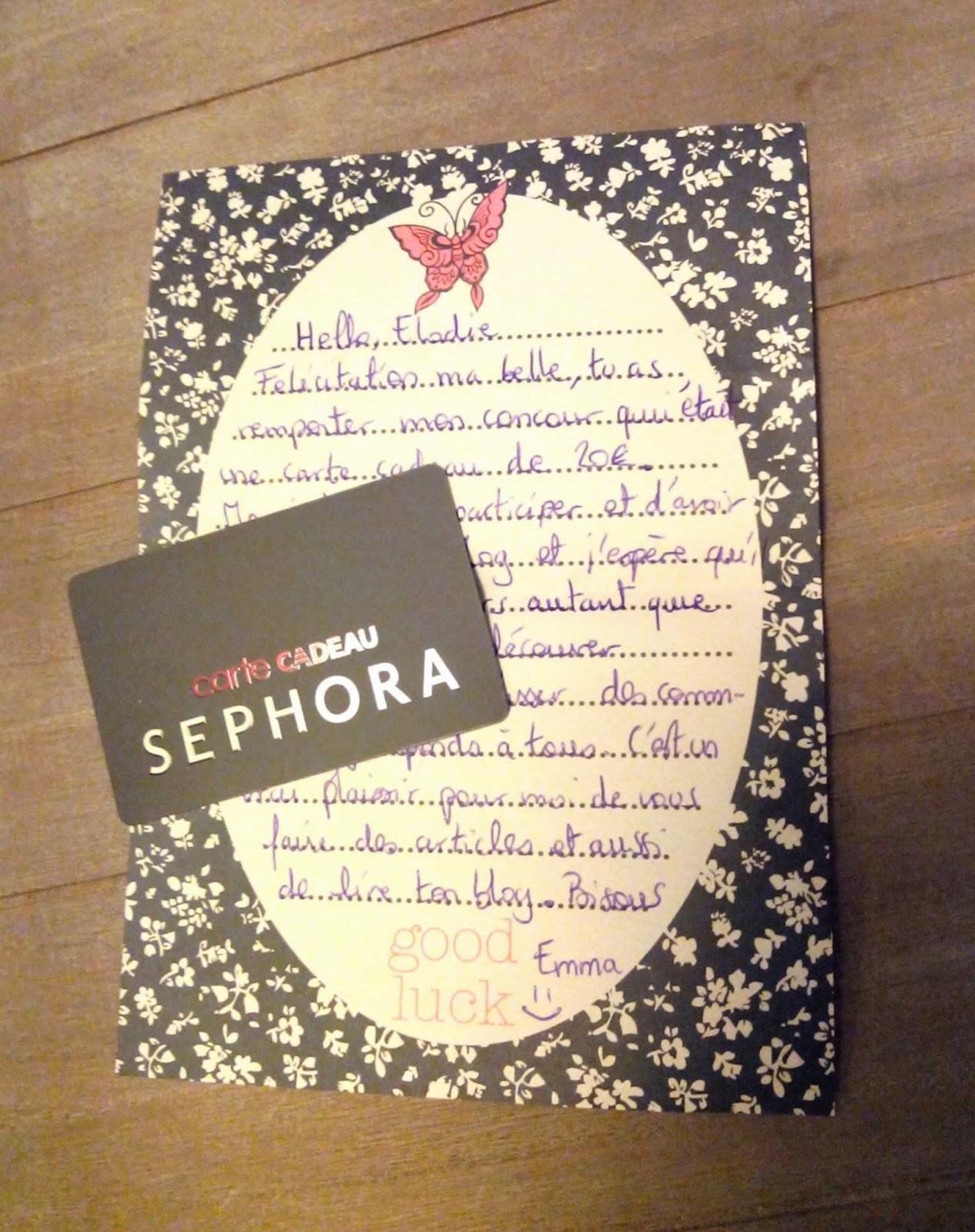 sephora, carte cadeau, bullelodie