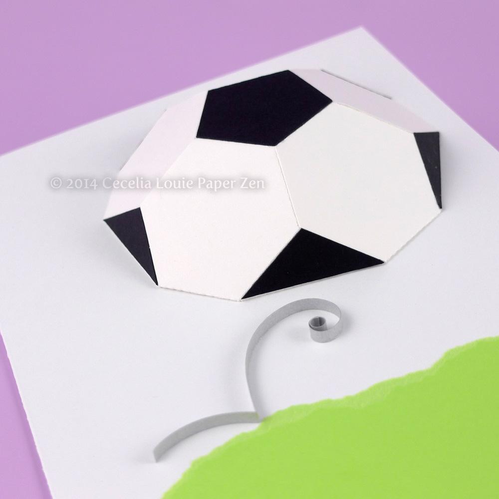 paper zen d soccer ball birthday card, Birthday card
