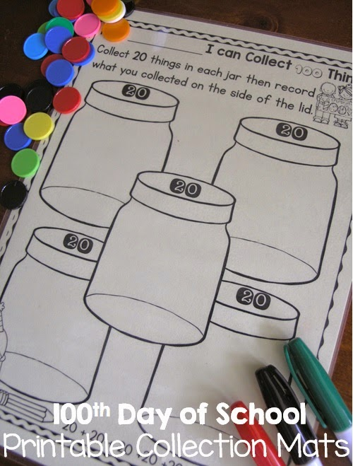 February centers with 100th day printables