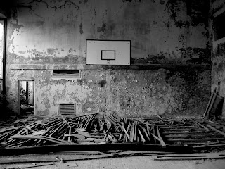 Basketball Basket Urban Place Black and White Photo HD Wallpaper