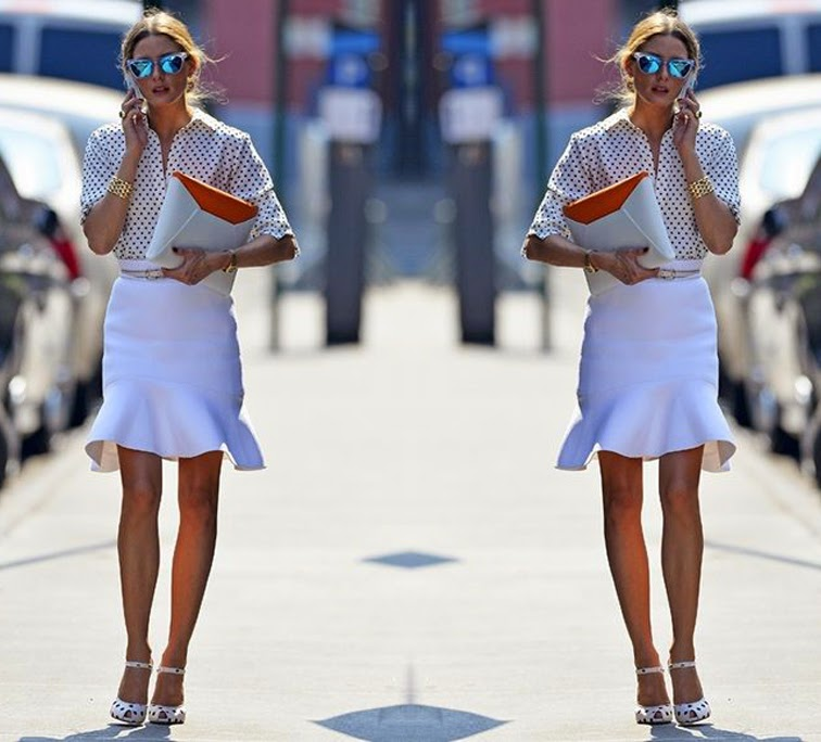 Olivia Palermo white flippy skirt