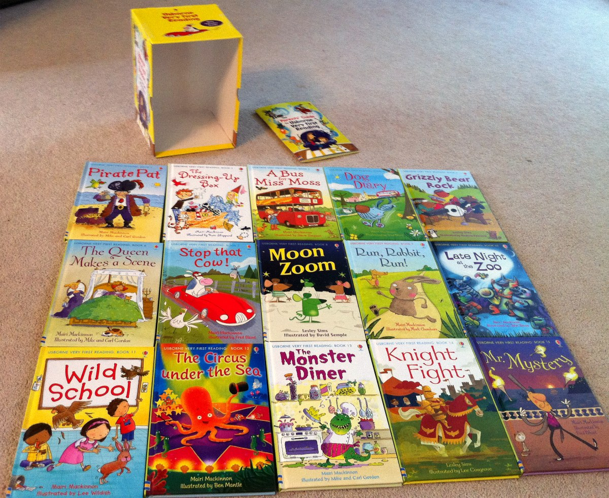 testy yet trying usborne very first reading boxed set of