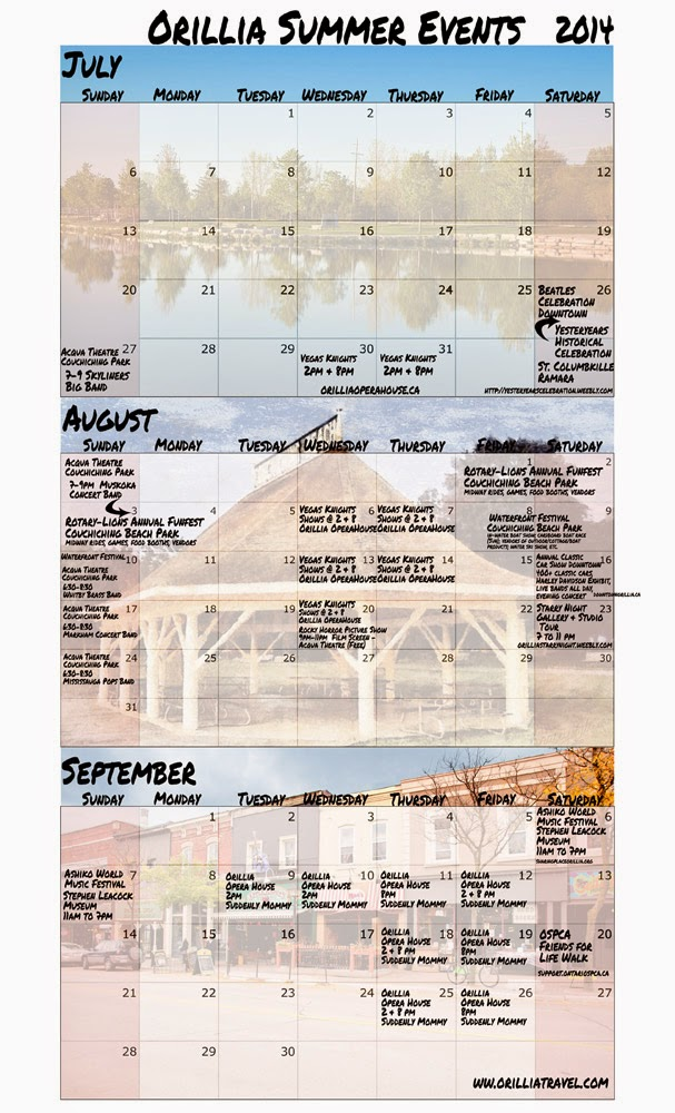 2014 printable calendar for July, August, Sept. with Orillia events listed.