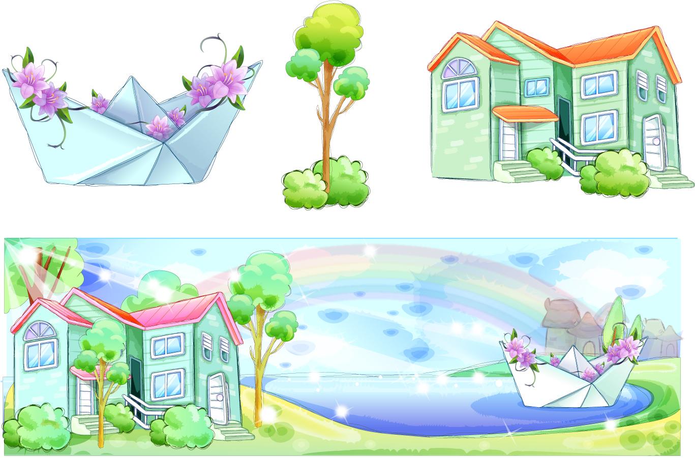 美しい虹の架かった風景 Landscape took the beautiful rainbow イラスト素材