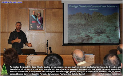 Australian Eucalyptus botanist Dr Dean Nicolle in his conference on eucalypt biodiversity and the Currency Creek Arboretum, Lourizan Forestry Research Centre, Pontevedra, Spain / El botanico de eucaliptos Dr Dean Nicolle imparte una conferencia sobre la biodiversidad de los eucaliptos y sobre el Arboreto de Currency Creek, el repositorio genetico mas completo de eucaliptos del mundo, en el Centro de Investigaciones Forestales de Lourizan, Pontevedra, España / Gustavo Iglesias Trabado / GIT Forestry Consulting, Consultoría y Servicios de Ingeniería Agroforestal, Galicia, España, Spain / Eucalyptologics, information resources on Eucalyptus cultivation around the world / Eucalyptologics, recursos de informacion sobre el cultivo del eucalipto en el mundo