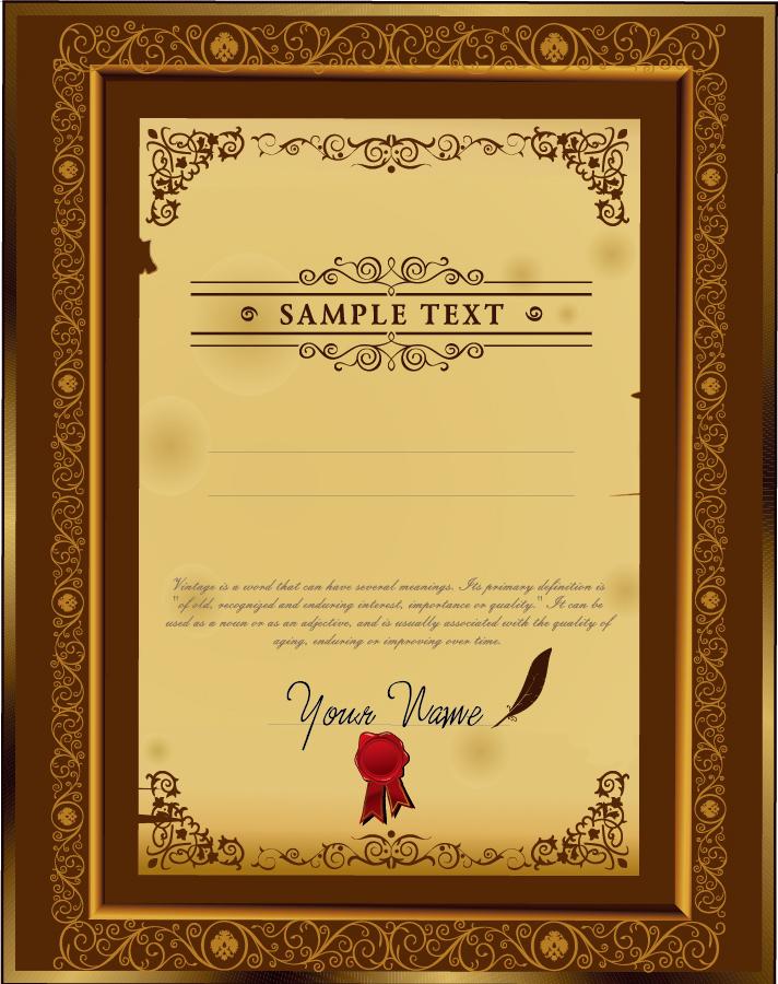 クラシックな証明書デザイン テンプレート classic certificate template design イラスト素材
