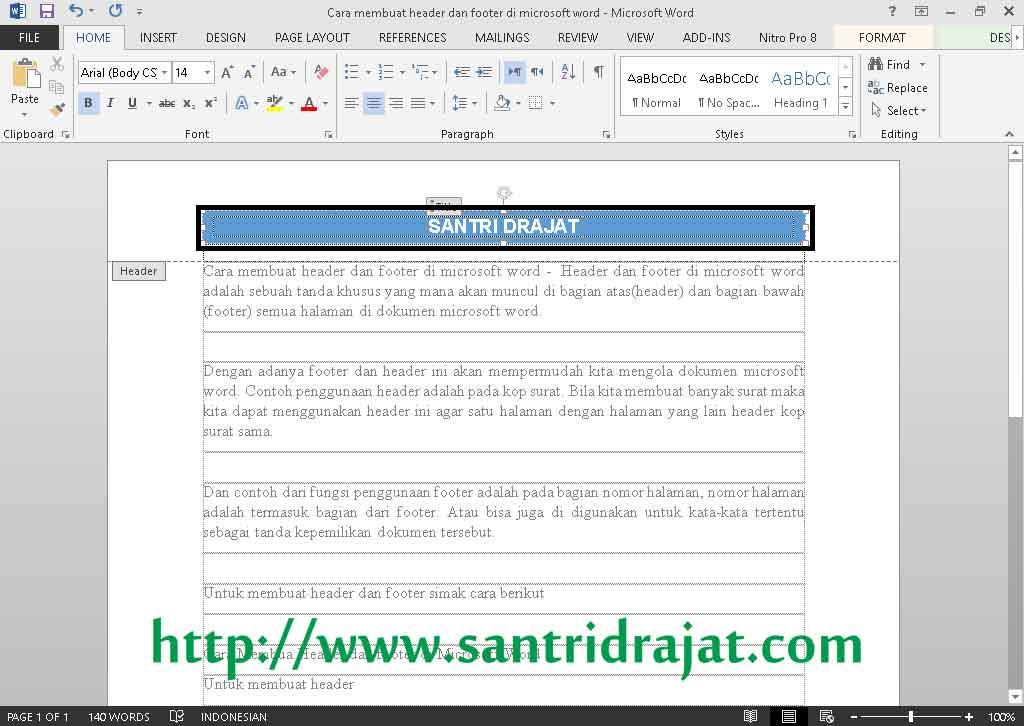 Cara Membuat Header dan Footer di Microsoft Word | Santri