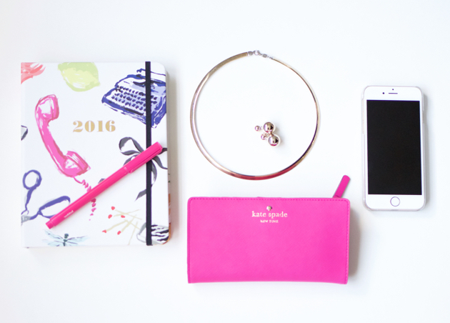 photo of 2016 planner, accessories, kate spade wallet, iphone